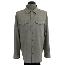 NWT IBEX Bromely Mens L Gray Washable Wool Metal Button Large Shirt $180