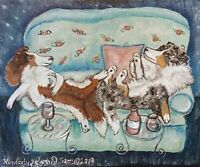 SHELTIE drinking Moscato Wine ACEO PRINT OF PAINTING Dog Art Card 2.5X3.5 KSAMS