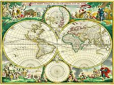 MAP ANTIQUE WORLD GLOBE HEMISPHERE ILLUSTRATED ART POSTER PRINT LV2142