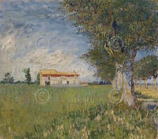 Vincent van Gogh Farmhouse in a Wheat Field 1888 Impressionist Canvas 28x24.5