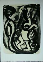 Ina Barfuß Lithografie Personen signiert und datiert 1987 Griffelkunst