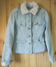 Hollister Light Green Corduroy Insulated Short Jacket w/ Faux Fur Collar, Wom. S