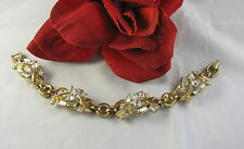 Vintage Trifari Gold tone Rhinestone Ornate  Bracelet FERAL CAT RESCUE