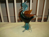 Vintage Murano Art Glass Pelican Bird-Very Large-5.6LB-Footed Gold Flake Glass