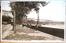 Postcard London Sunshine & Shadow On The Embankment River Thames England Uk