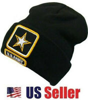 BRAND NEW Black United States US Army Star Military Beanie Skull Knit Cap / Hat