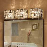 Modern LED Clear Crystals & Stainless Steel Bath Vanity Light Wall Lights Lamp