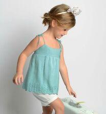 Top d'été pour petite fille de 2 - 3 ans vert d'eau tricote fait main
