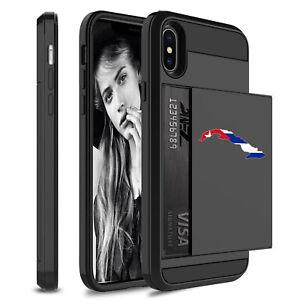 For Apple iPhone Shockproof Wallet Credit Card Hard Case Cuba Cuban Flag