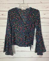 Chloe & Katie Women's XS Extra Small Black Floral Long Sleeve Fall Top Blouse