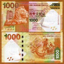 Hong Kong, $1000, 2014, HSBC, P-216d, UNC > Lion > Dragon Boat Festival