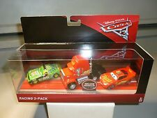 DISNEY PIXAR CARS 3 RACING 3-PACK CARS 3 MACK 3 McQUEEN,CHICK HICKS WITH HEADSET