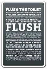 FLUSH THE TOILET Novelty Sign clean toilet restroom warning bathroom funny gift