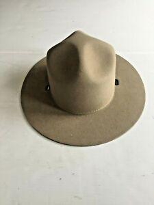 NEW STRATTON CALIFORNIA STATE PARKS TAN FELT WINTER CAMPAIGN HAT (6 3/4)
