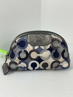Coach Cosmetic Bag Madison Graphic Sequin Op Art Sateen Gray Leather Zip M2
