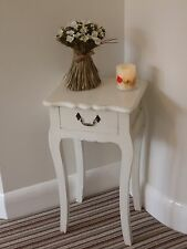 TALL BEDSIDE TABLE 1 DRAWER WOODEN CABINET WHITE DISTRESSED SHABBY CHIC FINISH