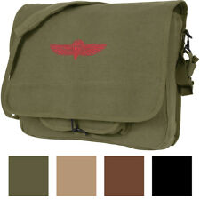 Canvas Israeli Military Paratrooper Emblem Shoulder Messenger Bag