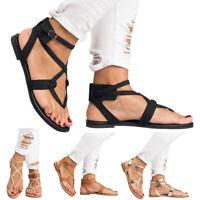 Womens Sandals Summer Cross Ankle Strap Flip Flops Slipper Boho Flat Shoes Size