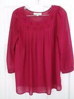 Ann Taylor Loft Women's Sheer Pink Tunic Top 3/4 Sleeve Size XS