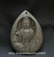 48MM Chinese Miao Silver Bodhisattva Guan Yin Goddess Buddha Amulet Pendant