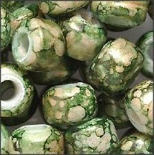 Marble Green Colors Glass Crow Beads (30)