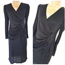 Vintage 80s Draped Party Dress Size Medium Black Formal Fluid Cocktail Evening
