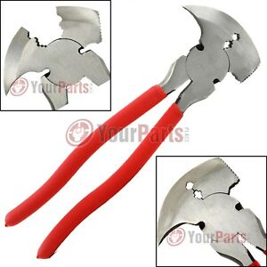 """Fence Pliers 10"""" Inch Multi Purpose Wire Cutter Fencing Hammer Tool MIT 93566"""