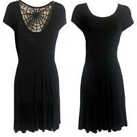 KILLSTAR Hexed Gothic Black Spider Web Crochet Back Skater Dress Jersey UK 10