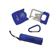 YELLOWSTONE sopravvivenza REGALO MINI SET TORCIA LED BUSSOLA Apriscatole WRENCH Magnifier