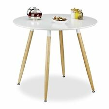 (tg. 90x90x74 Cm) Relaxdays 10020557-49 tavolo da pranzo Rotondo legno Bianco