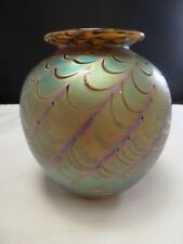 "RARE early CRAIG ZWEIFEL Art Glass VASE Gold LUSTER IRIDESCENT  4""  DATE 1990"