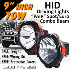 HID Xenon Driving Lights - 9 Inch 70w PRO Spot/Euro Beam Combo 4x4 4wd Off Road