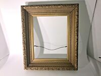 "Vintage Gold Color Ornate Wood Picture Frame OD:15"" x 12.5"" ID:10.25"" x 8.25"""