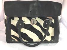 Leather Hobo Messenger Bag Zebra