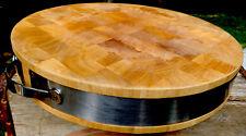 "VTG Wood Chopping Block Cutting STURDY Round Reversible Serving Tray Lg 15""x3"""