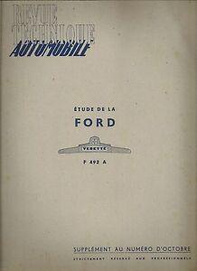 REVUE TECHNIQUE AUTOMOBILE 49 BIS 1949 ETUDE DE LA FORD VEDETTE
