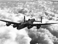WWII B&W Photo RAF Avro Lancaster Bomber in Flight  WW2  World War Two  / 5178