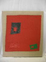 Michael Feicht (geb. 1959) Rote Komposition mit schwarzen und grünen Rechtecken
