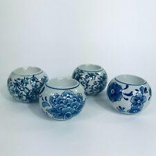 Set of 4 Blue & White Centrum Ceramics Chinoiserie Tea Light Candle Holders