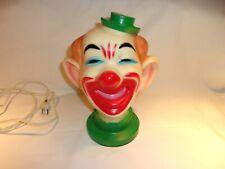 Vintage 9� Hard Rubber Plastic Light-up Clown Head Bust Figural Lamp Night Light