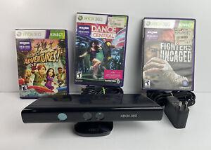 Microsoft 1414 Xbox 360 Kinect Sensor Bar with Power Adapter 1429 & Three Games