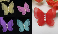 10 Organza Double layered butterfly & Faux Pearl Motifs Crafts, Garment  making
