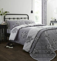 Catherine Lansfield Floral Bouquet Grey Luxury Quilt / Duvet Cover Bedding