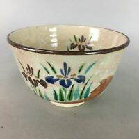 Japanese Ceramic Tea Ceremony Bowl Chawan Vtg Pottery Floral Iris GTB606