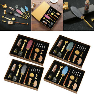 Vintage Luxury Feather Dip Fountain Pens Quill Pen with Wax Seal Kit