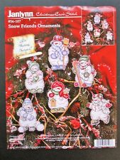 New Listing Snowman Friends Christmas Ornaments Counted Cross Stitch kit