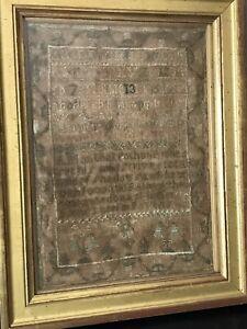 Antique 1790 Cross Stitch Needle Work Sampler From Pennsylvania Estate