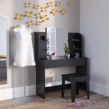 VICCO Schminktisch CHARLOTTE 142x108 cm Schwarz - Frisiertisch Kommode Spiegel