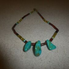 Vintage Zuni Hand Rolled Turquoise Beaded Necklace 17""