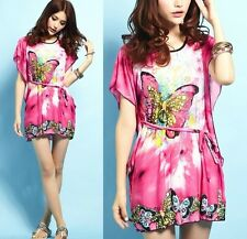 FD779 Bohemia Women Batwing Butterfly Loose Summer T-shirt Blouse Dress ~Pink~ L